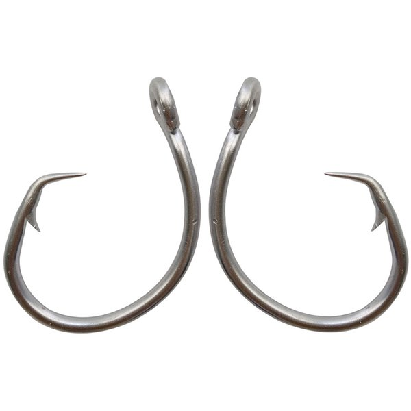 40pcs Stainless Steel Circle Fishing Hooks White Thick Tuna Bait Fishing Hook 39960 Size 8/0-15/0