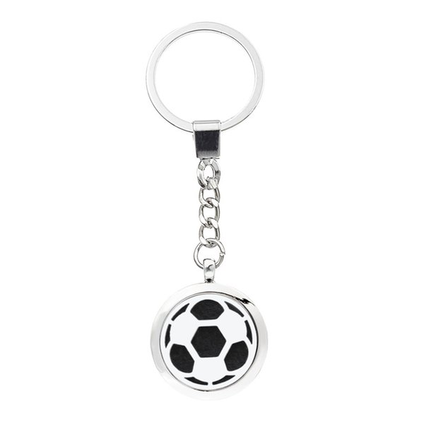 More Options Football Keychain Magnetic Aroma Essential Oil Diffuser Locket Key chain Perfume Locket Keyrings 5pcs Pads