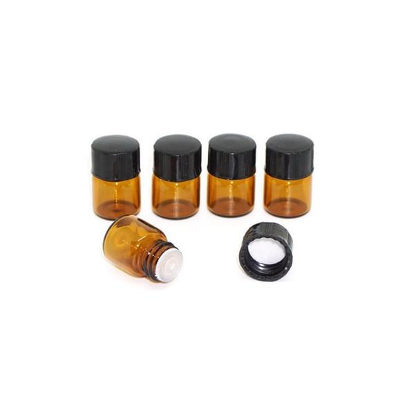 1 ML Mini Botella de Perfume de Cristal Ámbar 1CC Pequeña Muestra de Aceite Esencial de Brown Vial Precio de Fábrica LX2760