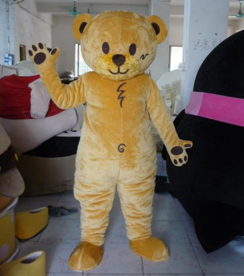 2018 yellow teddy bear mascot costume for adult