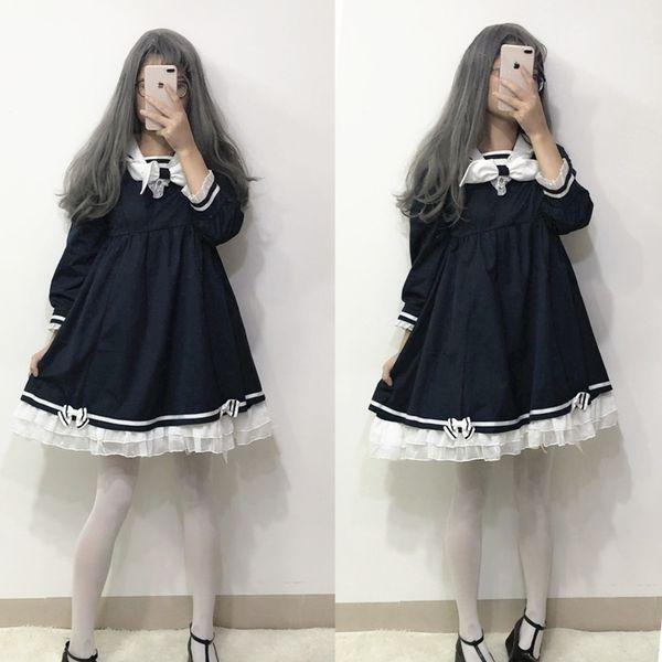 Automne style japonais Mori style marin fille marin costume à manches longues lolita belle étudiant de style de collège robe féminine