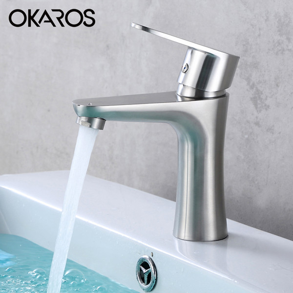 OKAROS Bathroom Basin Faucet Vessel Sink Faucet SUS 304 Stainless Steel Hot And Cold Water Tap Mixer Single Handle Torneira