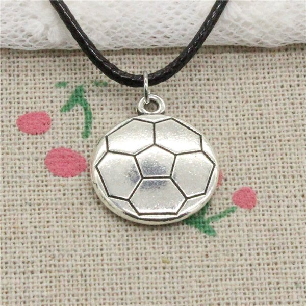 New Fashion Tibetan Silver Pendant double sided football 18*21mm Necklace Choker Charm Black Leather Cord Handmade Jewelry