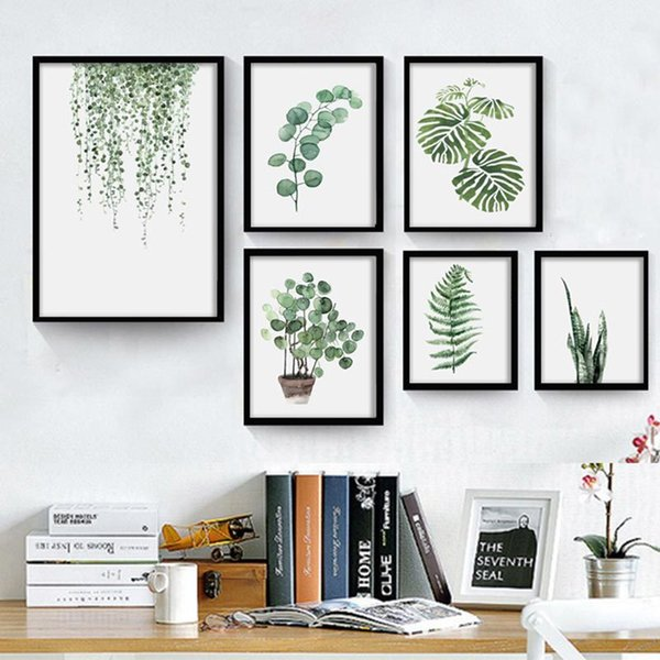 Watercolor Plant Leaves Posters and Prints Landscape Wall Art Canvas Painting Green Tropical Leaf Wall Pictures for Home Decor