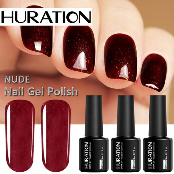Huration Nude 8 ml Nail Art Híbrido Sorte Gel Laca 29 Cor Manicure Comum Gel Unha Polonês Soak Off UV LED Lâmpada Verniz