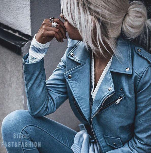 2018 Yeni Moda Kadınlar Autunm Kış Yüksek Kaliteli Faux Deri Ceketler Lady Mavi Motosiklet Biker Kabanlar Palto Streetwear