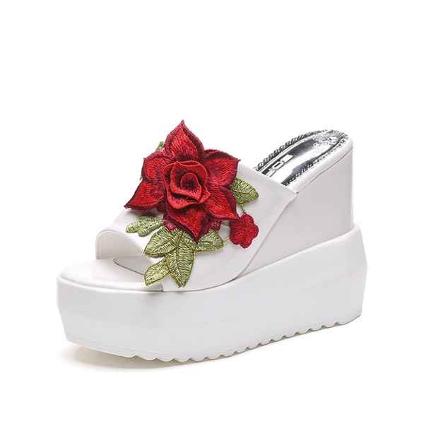 Fashion Flower Wedges Slippers Women Open Toe Outside Ladies Platform Slides Summer Super High Casual Shoes