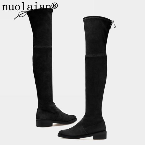 Compre Botas De Plataforma Negras Para Mujer Cuero De Gamuza Sintética Botas Altas Zapatos De Mujer De Invierno Con Nieve Dama Sobre La Rodilla Botas