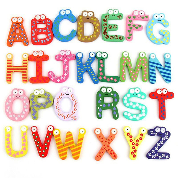 26Pcs Cartoon Fridge Wooden Magnet Baby Child Toy Puzzle English Educational Toy Alphabet 26 Letters