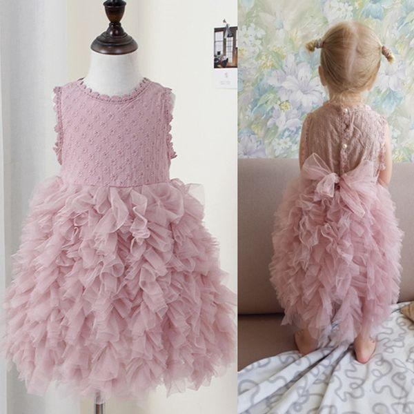 841367435 Super Bonito Rosa Princesa Menina Vestido de Bebê Recém-nascido Bebês  Roupas de Bebê Menina