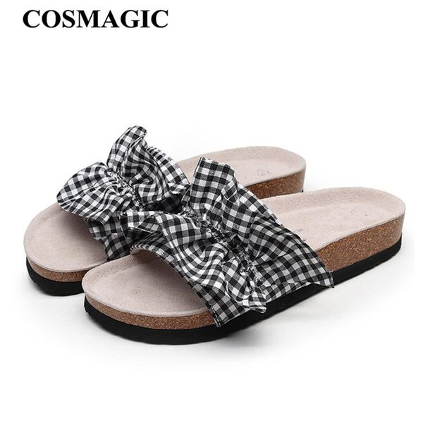 COSMAGIC 2018 New Summer Plaid Beach Cork Slippers Casual Women Cotton Fabric Mixed Color Clogs Slides Shoe Ladies Shoes