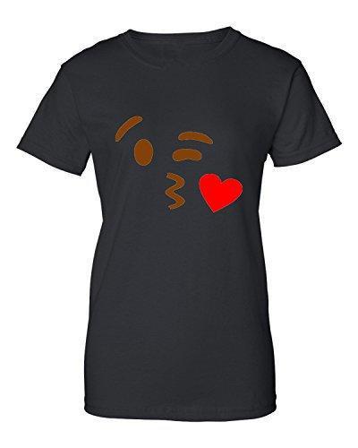 Personalisiertes T-Shirt O-Ansatz kurze Kissy Gesicht Emoji Emoticon-Entwurfs-Frauen T-Shirts