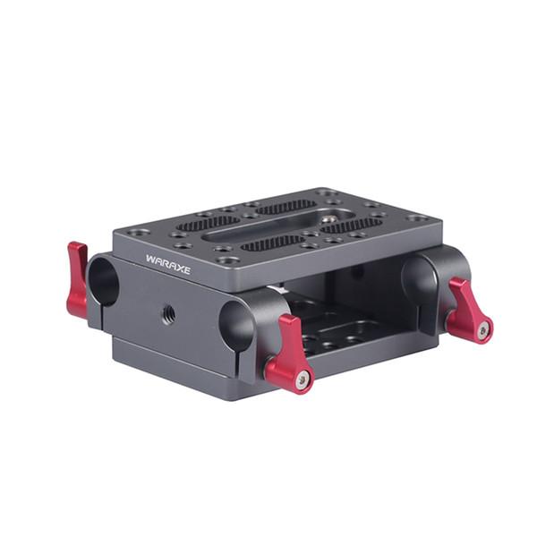Piastra di montaggio della telecamera Treppiede Piastra di montaggio per monopiede con morsetti per asta da 15 mm Railblock per asta di supporto per guida DSLR Camera Rig