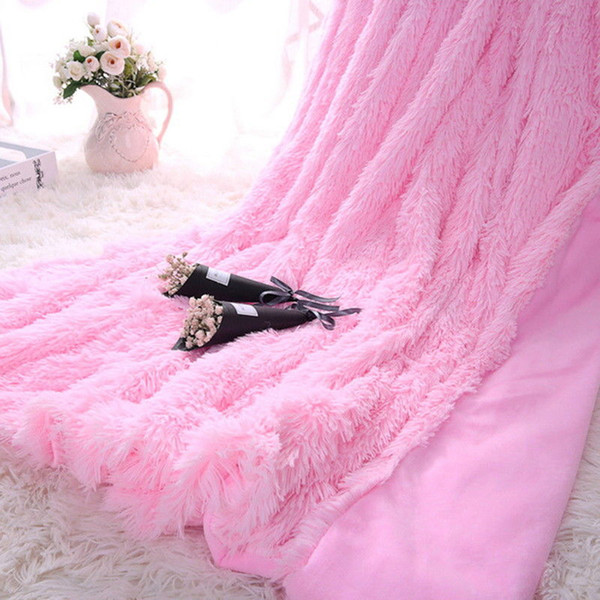 1PC Thicken Soft Warm Double Bed Blanket Sofa Cover Super Shaggy Shiny Sheepskin Faux Fur Throw Blanket Wool Carpet