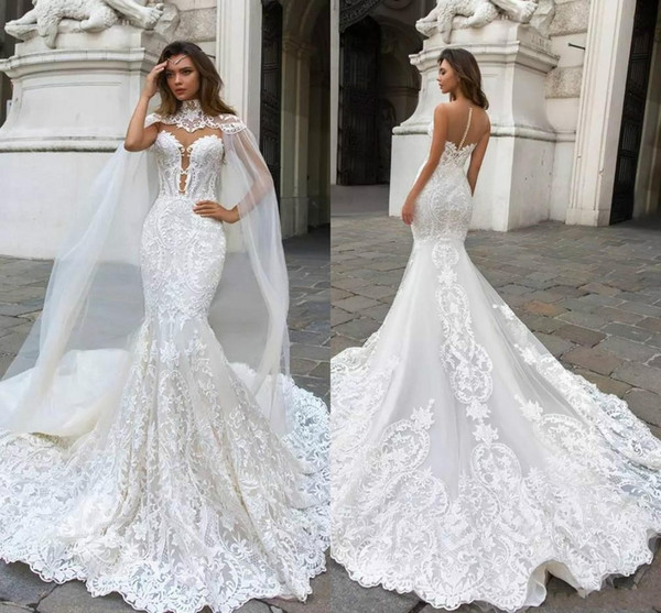 top popular 2019 Gorgeous Mermaid Lace Wedding Dresses With Cape Sheer Plunging Neck Bohemian Wedding Gown Appliqued Plus Size BA9313 2019