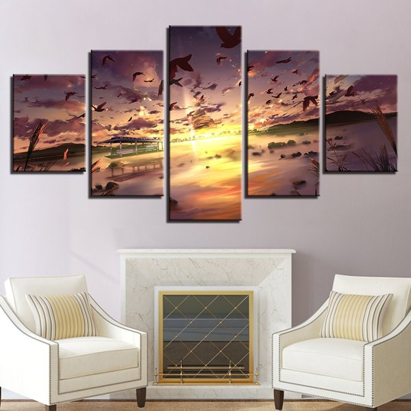 Print Poster Wall Art 5 Pieces Birds Fly In The Sky Sunset Scenery Painting Modular Canvas Pictures Living Room Decor Framework