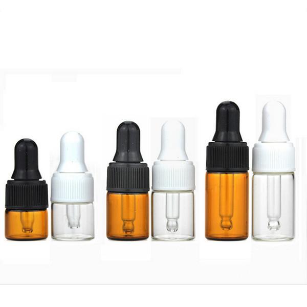 Venta al por mayor 1 ml 2 ml 3 ml Clear Dropper Glass Bottle aceite esencial Display Vial pequeño suero Perfume Brown Sample Container