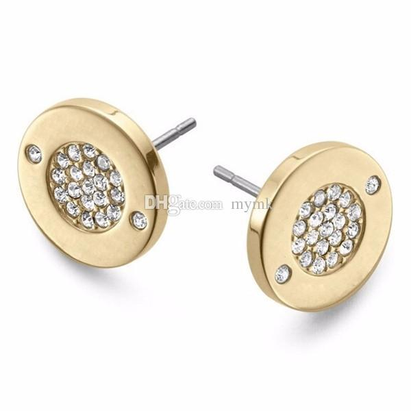 best selling New York Fashion Pave Tone Stud Earrings High quality crystal round Earings fashion brand Wedding jewelry for women girls