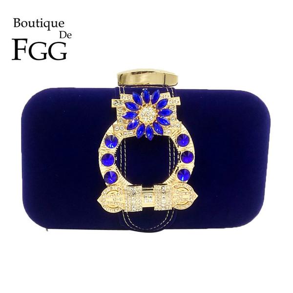 Boutique De FGG Faux Suede Métal Appliques Femmes De Mode Jour Embrayages Sac À Main En Cristal Soirée De Mariage Clutch Purse Sac