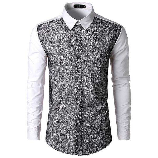 reputable site e315a 92cb6 Acquista Camicia Uomo Patchwork Bianco Maglia Nera Uomini 2018 Brand New  Slim Manica Lunga Uomo Camicie Affari Casual Button Down Camicie Uomo A ...