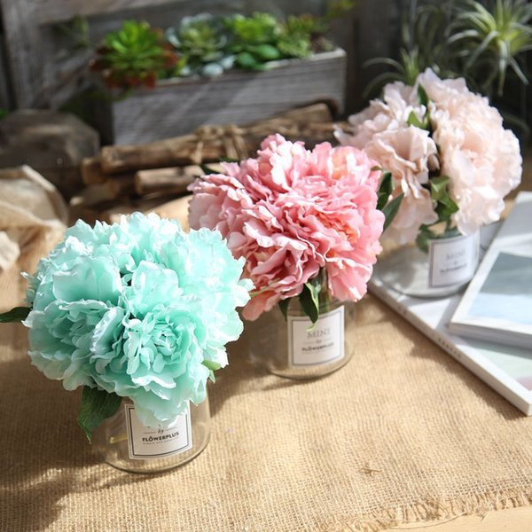 Bouquet Sposa Tiffany.Acquista New Peony Tiffany Blue Artificial Flower Fake Wedding