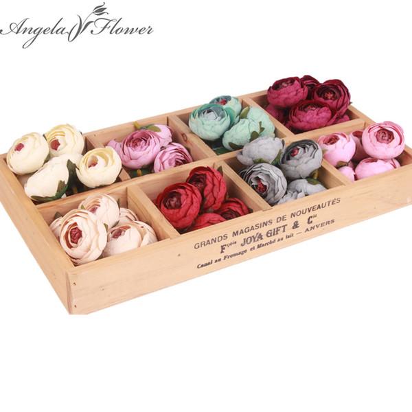 11 UNIDS / LOTE pequeños capullos de rosa de té de té cabezas de flores artificiales de alta calidad de la boda accesorios de BRICOLAJE decoración para el hogar decoración