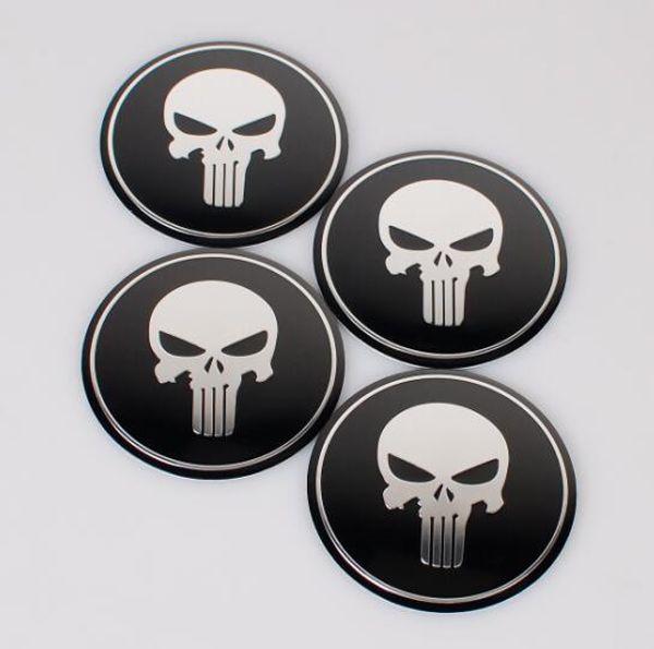4pcs/set Car Styling Aluminum alloy Cool Punisher Symbol Skull Center Wheel Cover Labeling Emblem Car Sticker Badge