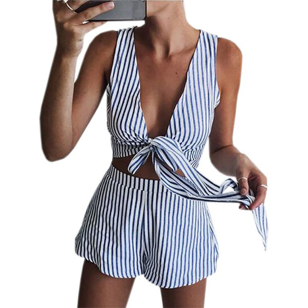 GAOKE Two Piece Set Blue Striped Playsuits Beach Short Pants Jumpsuit Rompers Sexy Sleeveless V Neck Overalls Bodysuit Sashes