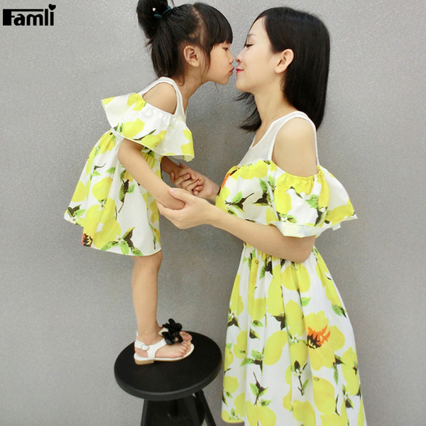 Famli Mom Daughter Lemon Print Dresses Family Mother Baby Girl