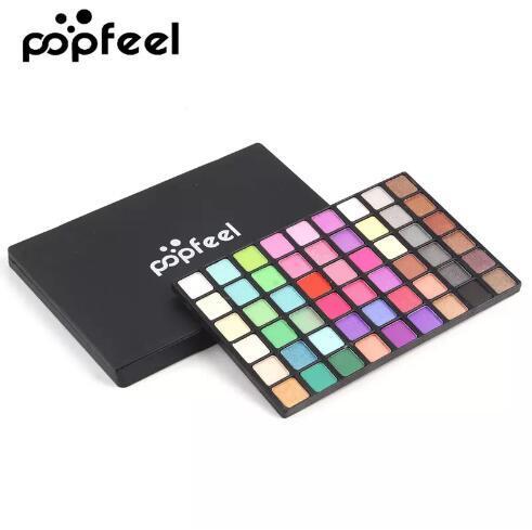Marke POPFEEL 54 Farben Nude Smoky Farben Matt Lidschatten Wasserdichte Pigmente Warme Farbe Schimmer Glitter Lidschatten-palette Make-Up