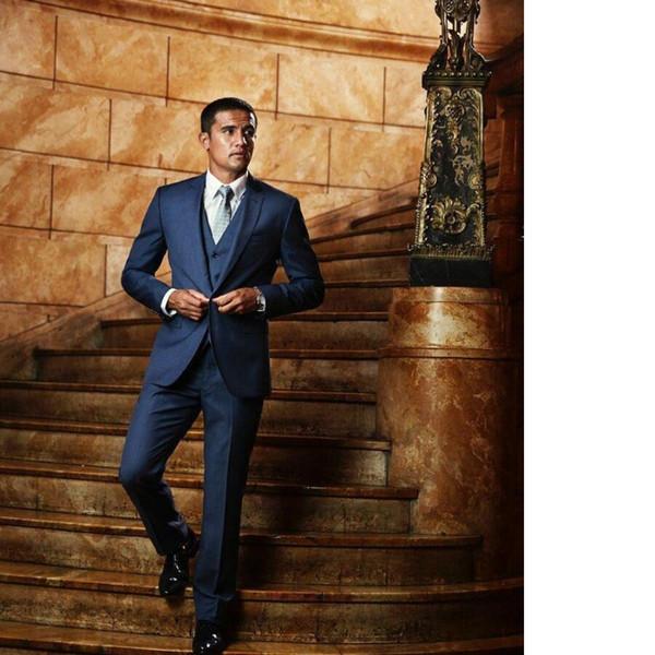 New Custom Made Azul Dos Homens Terno Slim Fit Noivo ternos dos homens Smoking 2017 Novo Estilo de Casamento Formal Terno de três peças