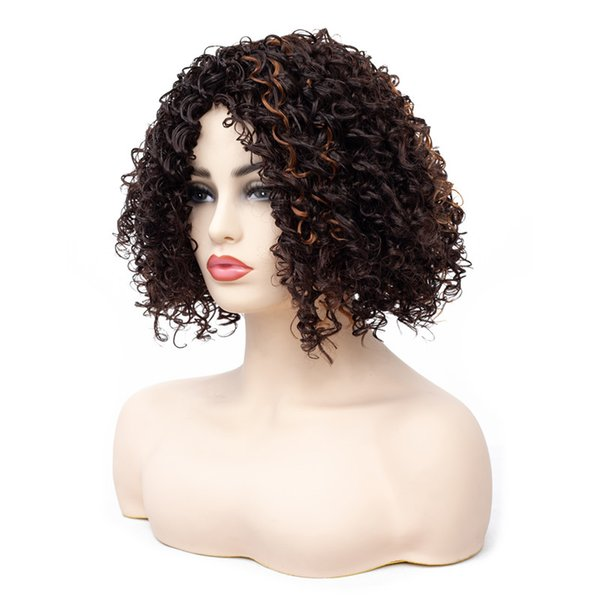 Cheap Afro Kinky Short Curly Gold Brown Wigs for Women African American Synthetic Wigs Partial Bangs Ombre Hair