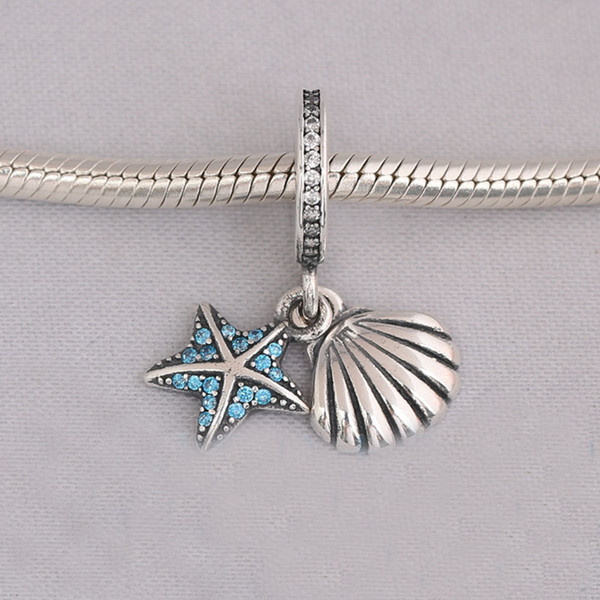 Authentic 925 Sterling Silver Tropical Starfish & Sea Shell Dangle Charm, Frosty Mint & Clear CFits European Pandora Style Jewelry Bracelets