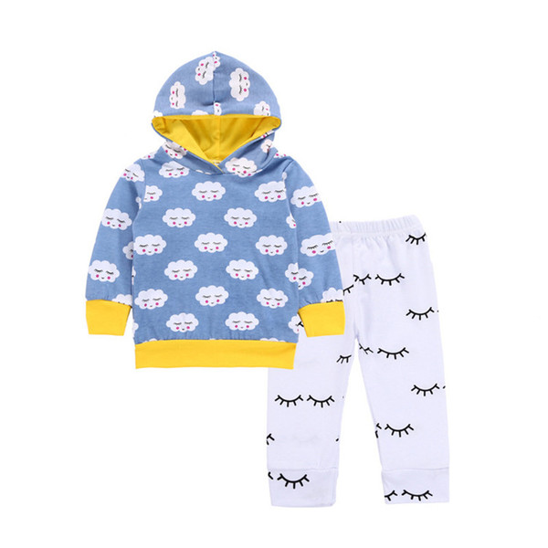 Baby boys cloud printing hoodie 2pcs sets blue printing hooded hoody+white pants toddlers cute casual outfits for 0-2T B11