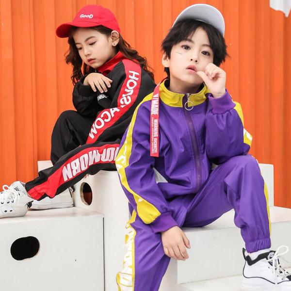 Niños Hip Hop ropa de baile Niñas niños sudadera Jogger pantalones Jazz Dancewear Disfraces conjunto Salón de baile Ropa de baile Trajes niños