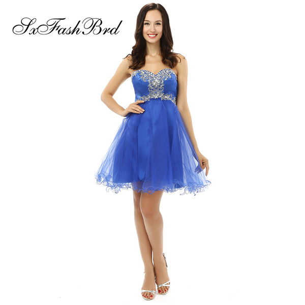 Fashion Elegant Sweetheart Neck With Crystals A Line Mini Short Blue Tulle Party Formal Evening Dresses for Women Prom Dress
