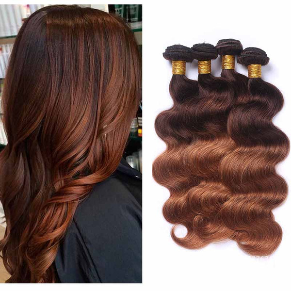 Ombre peruviana dei capelli estensione Two Tone 4/30 # Body Wave Brown tessuto dei capelli umani 4 Bundles all'ingrosso colorato peruviana Bionde capelli