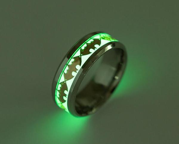 top popular Mens Ring Luminous Batman Rings for Men Black Gold Silver Stainless Steel Women Rings Glow In The Dark Male Ring Jewelry 2020