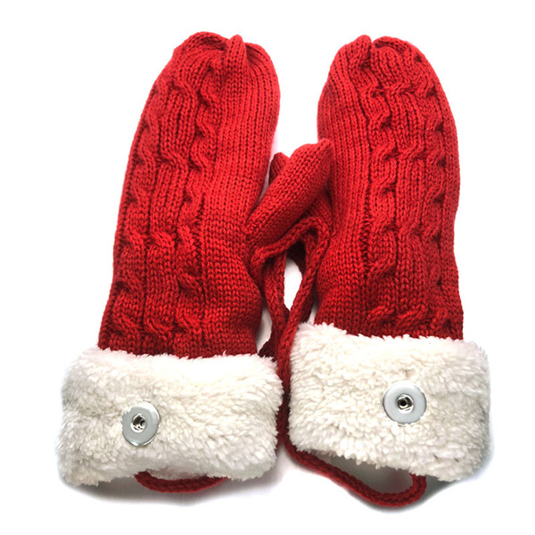 6 Colors 009 Winter Fashion Christmas Gloves Fit 18mm Snap Button Knitted Gloves Charms Fashion Jewelry For Women Teenagers Gift