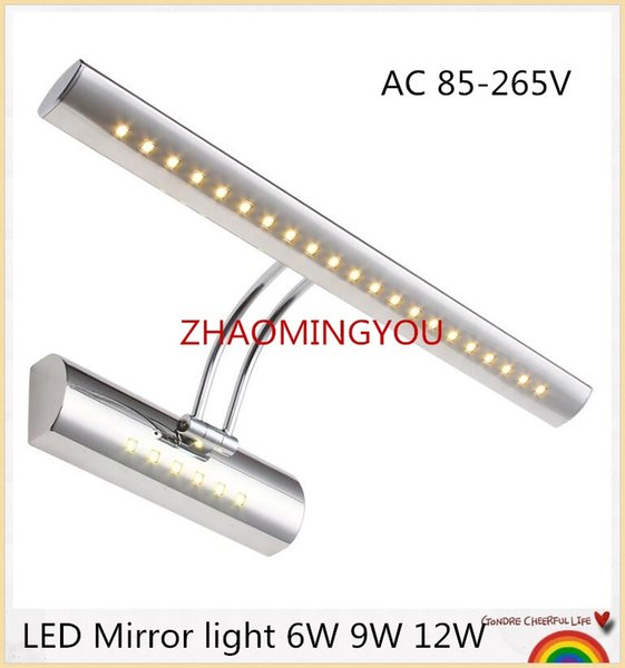 10PCS LED Mirror light 6W 9W 12W 40/55/70cm AC 85-265V stainless steel bathroom Wall lamps wall sconces lighting with switch