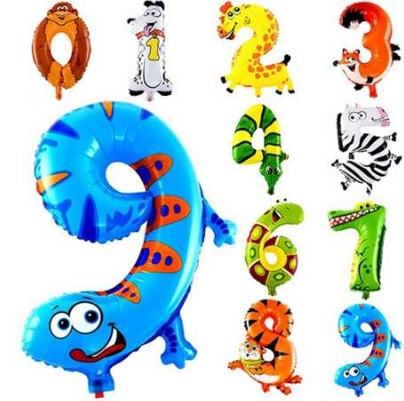 1pc 16inch Animal Number 0-9 Ballons Cartoon foil Air Balloon Birthday Party Decoration Boy/Girl Baby Shower Party Supplies