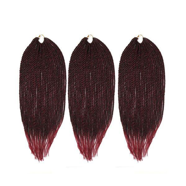 Zxtress Senegalese Crochet Twist Synthetic Braiding Hair Extensions Heat Resistant Kanekalon 3pcs/lot 81strands/pack Ombre Black BURG Purple