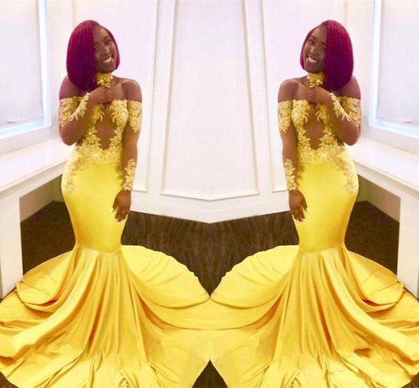 Bellissima sirena araba abiti da sera pura manica lunga pizzo giallo plus size 2018 saudita africana delle donne del partito di promenade abiti da cerimonia