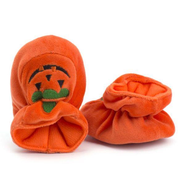 Newborn Toddler Baby Girls Solid Soft Sole Pumpkin Prewalkers Warm Cotton Shoes