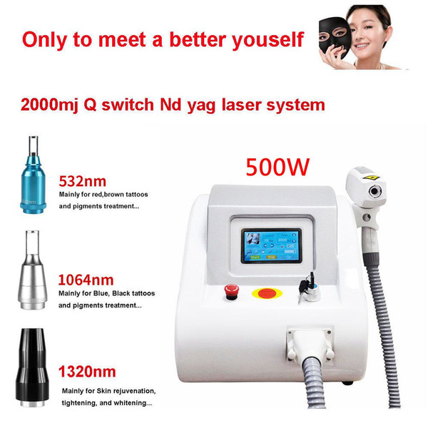2000MJ Touch Screen Q Switched Nd Yag Laser Machine tattoo removal Eyebrow Pigment Removal Scar Acne removal 1320nm 1064nm 532nm CE
