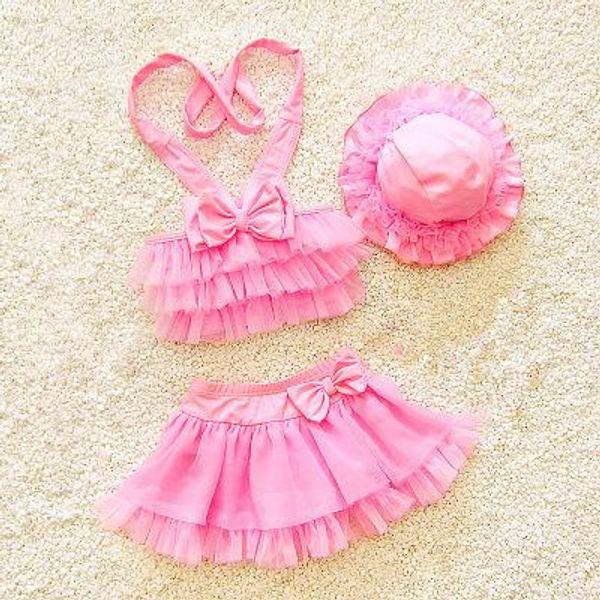 Kids Girls Swimwear Baby Girls Tulle Cake Bikini 2018 New Infant Girl Top + Skirt + Hat 3pcs Swimsuits Children Beach Wear Clothes D443