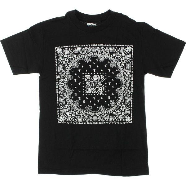 DGK Bandana T-Shirt - Size: SMALL Black 100% Cotton Short Sleeve O-Neck Tops Mens T Shirts Fashion 2018