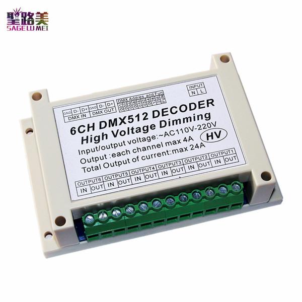110V - 220V AC High voltage 6 channels Dimmer 6CH DMX512 5A/CH LED Decoder Board DMX led dimmer For led Stage light lamp module