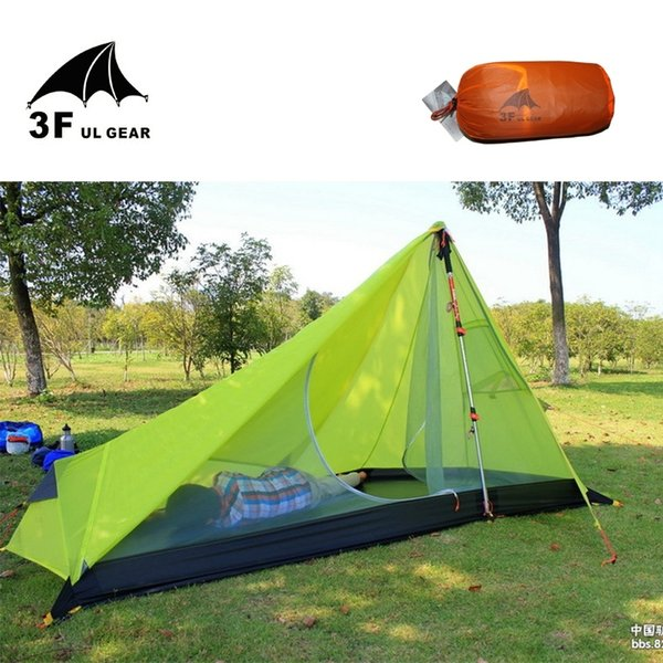 2019 0.65KG 3F UL Gear Rodless Tent Ultralight 15D Silicone Single Person Camping Tent 1 Person 3 Season With Footprint 3Colors