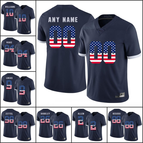 National flag Custom NCAA Penn State College Football jerseys Any Name Number 2 Marcus Allen 26 Saquon Barkley 88 Mike Gesicki 9 McSorley